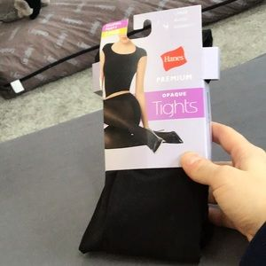 Hanes Premium Opaque Tights  - Black - Size Large